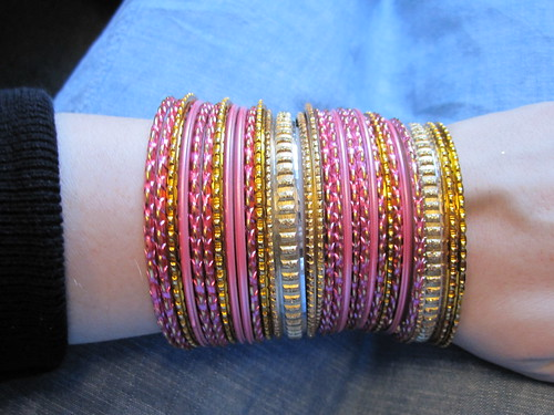 emily pink and gold bangles
