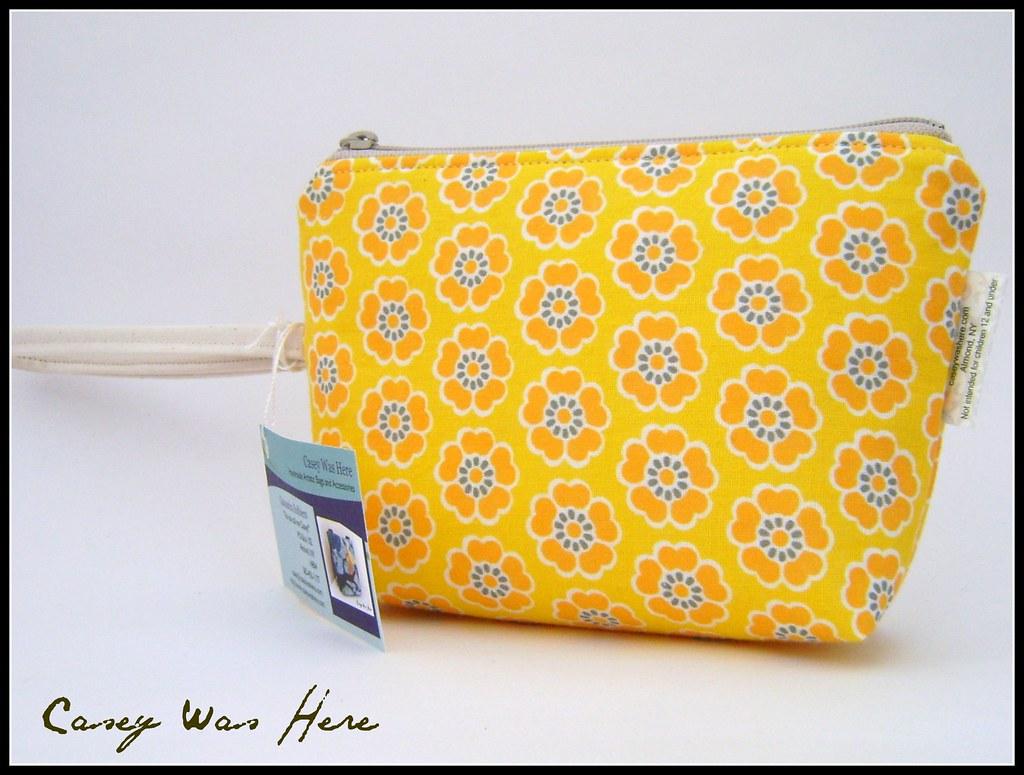 Vintage Fabric Make up bag/ wristlet