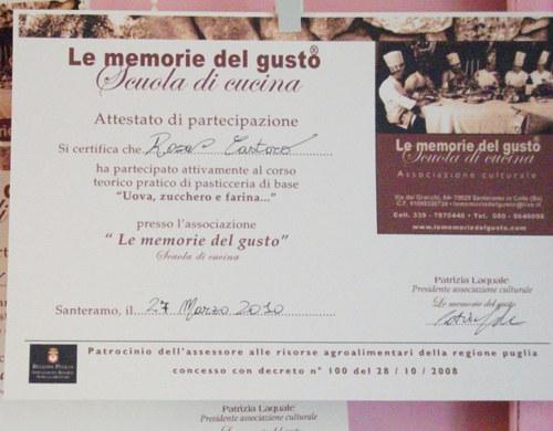 attestato di partecipazione ai corsi di cucina de le memorie del guto foto di mauro giammarini