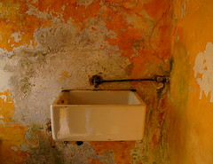old sink in yellow room (hmb52) Tags: old ireland texture abandoned yellow sink mayo derelict crusty comayo musty
