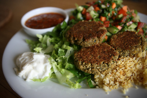Falafel with salad and couscous