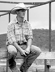 Paul Miners (iSPY Photography) Tags: yards portrait horses cowboys blackwhite gate ride cattle boots country jeans event nsw dust cowgirls saddle bridle adaminaby akubra reining campdraft checkshirt adaminabycampdraft