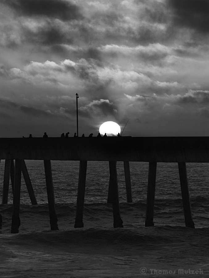 Sunset above Fishing Pier, Pacifica, California, May 2011
