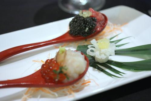 Tartar Duo - Hokkaido Scallop and Marinated Salmon Roe, Wasabi, Shiitake Mushroom. Toro, Osetra Caviar, Takuan, Scallion
