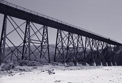 Trestle Bridge (nigelrturner) Tags: california statepark trestle bridge sky bw usa mountains beach train may pch highway1 gaviota 2011 monochromw