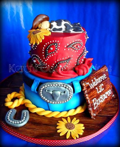 Lil' Buckaroo Baby Shower Cake by Kara's Custom Cakes