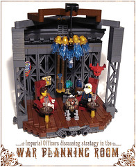Martian Headquarters (captainsmog) Tags: wood mars beard globe rivets lego mask general crystal map military alien whiskey structure steam chandelier butler copper armchair colonel gears vignette strategy diorama martian steampunk mocs malt officers moc tactic
