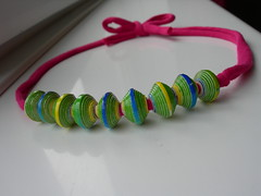 Upcycled Paper Bead Necklace (Tulip Diva) Tags: pink blue green yellow necklace jewellery bow jewelery cerise paperbeads upcycled