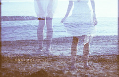 (e n y o u) Tags: sea portrait film girl self 35mm sand dress doubleexposure scan canont70