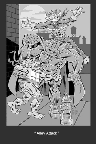 "TALES OF THE TMNT #x v 2.   ..unused Pin-up Page :: ""ALLEY ATTACK"" ..pencils by Bruce Hatten; inks by  Ryan Brown (( 2009 ))"