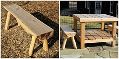 Garrison Forest ~ new playground (karma (Karen)) Tags: garrisonforest owingsmills maryland playgrounds benches tables fences woodchips flagstone diptych picmonkey benchmonday hbm shadows