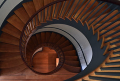 Round and Round (Bill Badgett) Tags: kentucky harrodsburg shakervillage shaker pleasanthill spiral stairs woodworking antique old past stair nikon nikond810 mercercounty us68 wood architecture capentry cantilevered