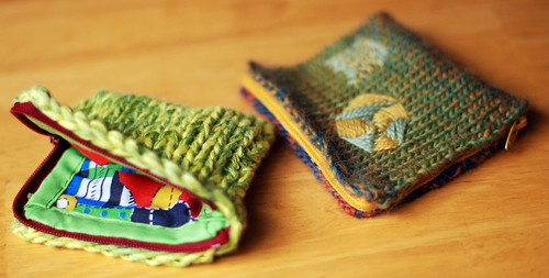 Lined Zippered Knit Coin Pouches!