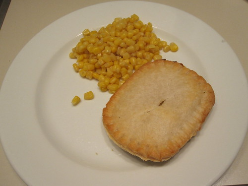 chicken pot pie and corn at home