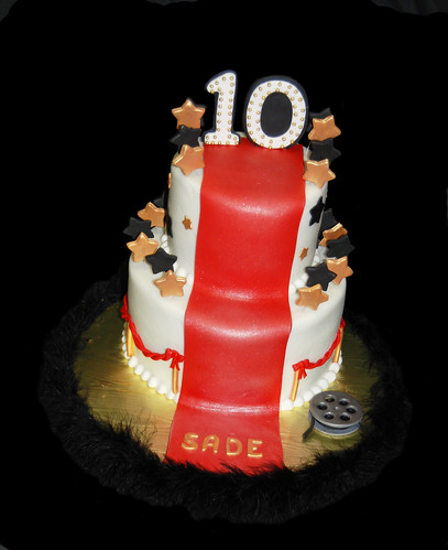 Black Red and Gold Hollywood Red Carpet themed 10th Birthday Cake
