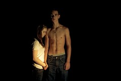 misguided (laurenmarek) Tags: boy 2 shirtless girl night forest dark outside nikon texas teenagers teens sigma adobe flashlight abs lightroom 30mm d40 laurenmarek innocenceleftbehind