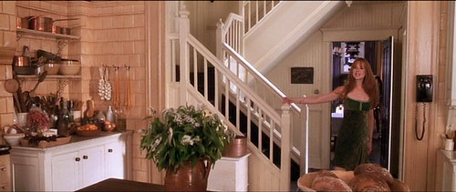 practicalmagic_kitchen_gillygreendress_comingdownstairs