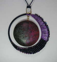 Polymer Clay Mixed Media Pendant (auntgriz) Tags: beads mixedmedia polymerclayjewelry coloredwire knightworkstudio