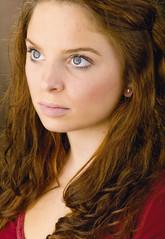 Courtney (Jciz89) Tags: red portrait woman brown mamiya shirt female mediumformat hair leaf soft 11 ring ear medium format pearl diffused earing leav valeo