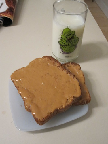 Toasts with PB, milk at home