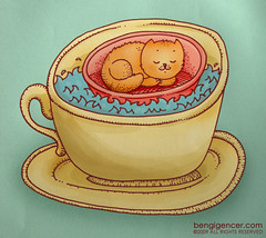 fincanda legen kedisi (bengi gencer) Tags: sea cup illustration cat wind tea bowl basin sleepy