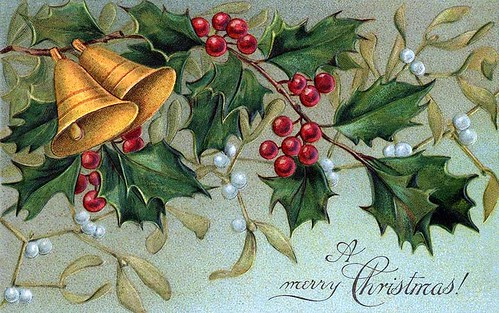 Christmas bells, holly, and mistletoe