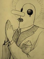 Strange creature praying. (LeChron84) Tags: black eye leaves nose weird eyes hands long drawing prayer praying den blade creature med det har dyr mrkeligt munden hvorfor tegninge