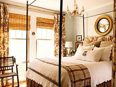 Woodsy Retreat (It's Great To Be Home) Tags: mirror cozy bed bedroom chandelier romantic canopy woodsy neutral bambooblinds heatherchadduck