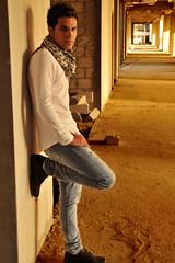 Nawaf ( Lifestyle Portrait ) (Saad Al-Enezi) Tags: portrait man guy wall pose model sand nikon lifestyle kuwait nawaf d300 youngguy bluding saadalenzi ardiyahindustrialarea nawafalfarhan