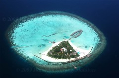 Island with Water Bungalows (From Afghanistan With Loveّ) Tags: world travel white beach water island sand snorkel sandy scuba diving maldives 2009 bungalow atoll zeerak safrang hamesha javaid