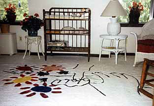Picasso Custom Rug Hands with Flowers