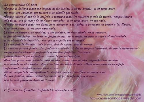 1ª Carta a los Corintios: (capítulo 13, versículos 1-13)