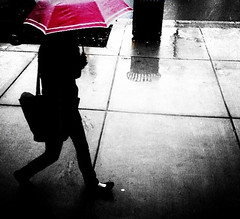 Pink umbrella (stephieseye) Tags: pink bw rain silhouette boston umbrella iphone bostonist