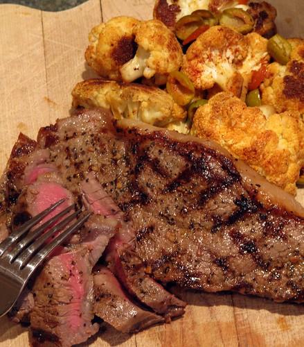 Peppered Steak with Roasted Cauliflower