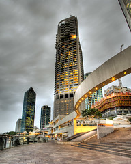 Brisbane Riverwalk (jezza323) Tags: panorama riverside pentax pano au tripod australia brisbane walkway blended qld queensland stitched hdr riverwalk 18mm bris riversidecentre autopano photomatix riparianplaza waterfrontplace hdrpano k200d justpentax da1855alii pentaxart