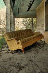 Makeshift Rest Stop (Brian Brown Photography/Vanishing Media) Tags: pictures old usa house abandoned home rural ga georgia french gold photo time decay passages couch southern sofa frontporch damascus earlycounty vanishingsouthgeorgia copyrightbrianbrown davidbottoms inauhaulnorthofdamascus linesfrom