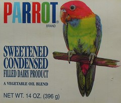 1960s PARROT Condensed Milk Can Label Vintage Graphic Illustration (Christian Montone) Tags: vintage milk rainbow label parrot can 1960s