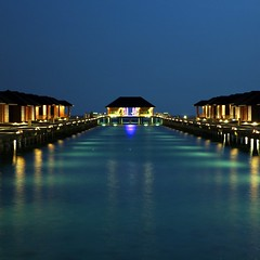 Paradise in Maldives (JannaPham) Tags: ocean trip travel light sea sky moon holiday reflection water night canon island eos paradise happybirthday 5d maldives markii bestwishes napix jannapham