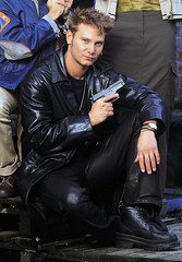 Fabian Harloff in black leather (Lederjule) Tags: music man male germany tv boots musical german singer actor leatherjacket leder lederhose leatherpants stiefel schauspieler lederjacke lederjeans fabianharloff dierotemeile skbabies