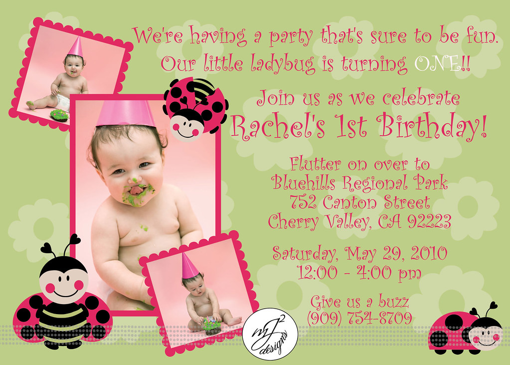 Mj squared designs ladybug 1st birthday invitations and pink color combinations worked out so wonderful and im so excited for this little girl because i know shes going to have a great first birthday filmwisefo