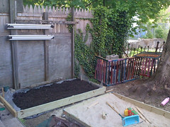 4/19: soil for bed+gate for compost area