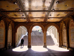walking under the bridge (Sangy23) Tags: park nyc bridge light people newyork architecture stairs person centralpark lee cassandra sangy sangy23