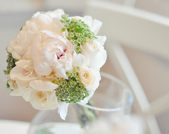 white flowers  and greenery wedding bouquet
