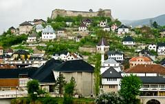 Jajce (marin.tomic) Tags: city travel houses castle rain europe cityscape view bosnia hill mosque panasonic fortress bih jajce bosna bosnian bosnien