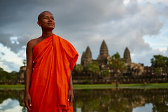 Monk at Angkor Wat, Angkor, Cambodia 1 (Alex_Saurel) Tags: buddhist bassin ancient monk photospecs orientation architecture clothes fullframe bouddhisme imagetype fullbody moine garden portrait religion pleinformat portray cambodge stockcategories photoreportage people buddhism weather kesa archicategory reportage man photojournalism portraiture traditional style planpied photoreport vertical nature scans time adult tradition type religieux pond culture temple asia day sunset planitalien travel detail sony50mmf14sal50f14
