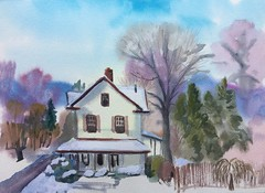 West Neighborhood (Handwork Naturals) Tags: 2017 winter paint watercolor greenecountynewyork rivertown catskills dailypainting snow village neighborhood house hudsonvalley newyork villageofcatskill edenscovillehart