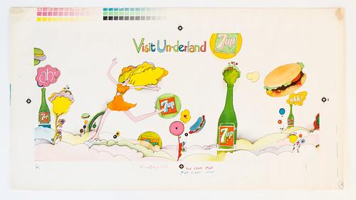 "1969 7Up UnCola ""Visit Un-Derland"" 30"" x 16"" vintage billboard poster ""Printer"