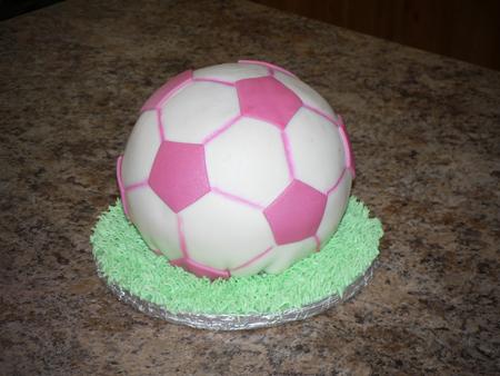 soccer ball cake fondant pink grass airbrush