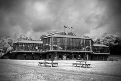 Pitlochry Theatre: I turned the image to black and white and messed with the colour levels to make it look like it had been snowing