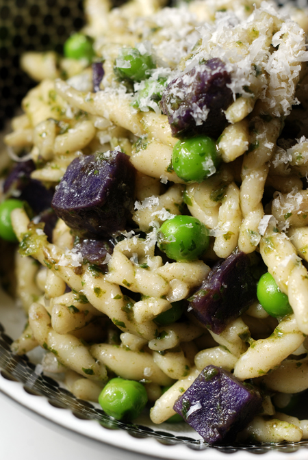 Trofie with Purple Potatoes, Peas and Pesto© by Haalo